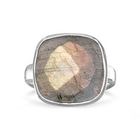 Sterling Silver Large Checkerboard Faceted Cushion Cut Labradorite Ring