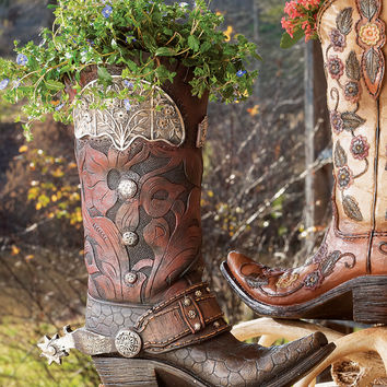 Tooled Cowboy Boot Vase