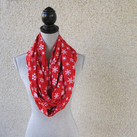 Fabric scarf, Infinity scarf, tube scarf, eternity scarf, loop scarf, Christmas scarf, red scarf, snowflakes, Christmas, Holiday scarf