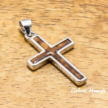 Silver Cross Pendant Handmade with 925 Sterling Silver with Koa wood inlay (20mm x 28mm FREE Stainless Chain Included)
