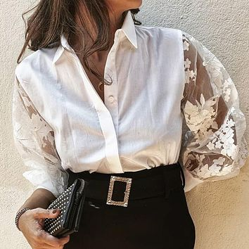 Sexy White Mesh Casual Blouse Shirts Women Club Transparent Ladies Blouse Shirts Lace Embroidery Blusas Mujer