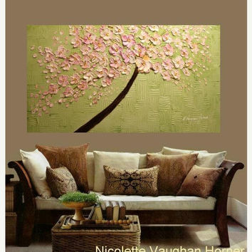ON SALE Oil Landscape painting Abstract Original palette knife signature PINK Blossom oil impasto oil painting by Nicolette Vaughan Horner