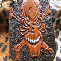 Skull keychain, Handmade key ring, Skull key holder, Skulls, Custom tooled, tooled leather