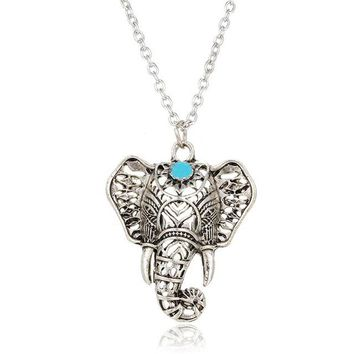 17KM Hot Vintage Elephant Pendant, Boho Antique Blue Stone Necklace