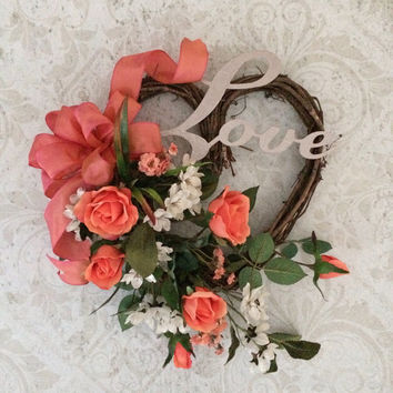 Valentines Day Wreath, Valentine Wreath, Valentine's Day Wreaths, Heart Wreath, Spring Wreath,Front Door Wreath,Silk Floral Wreath,Love,Etsy