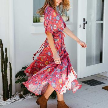 RED bird and floral print cotton long dress V-neck tassel batwing sleeve women dresses 2017 summer holiday dresses Boho dress