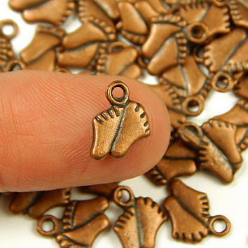 10 Pcs - 11x9mm Tiny Antique Copper Feet Charms - Tiny Charms - Jewelry Supplies