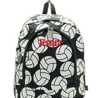 Personalized Volleyball  Padded Backpack - Black