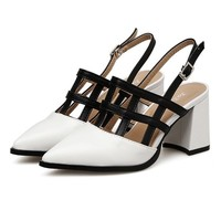 Hollow Out Chunky Heel Slingback Pumps