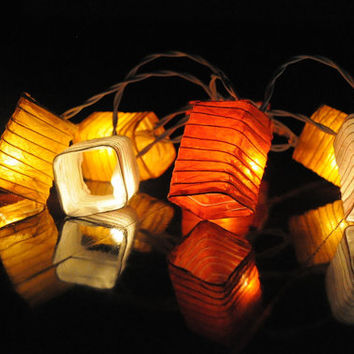 10 feet long Orange tone mix oriental lantern string light cubic paper spring party bedroom night light patio bohemian style