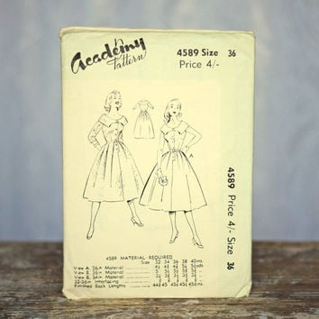 Evening Dress Vintage Sewing Pattern Academy 4589, Size 16 Medium-Large 1960s Fitted Evening Dress Dance Mother of the Bride