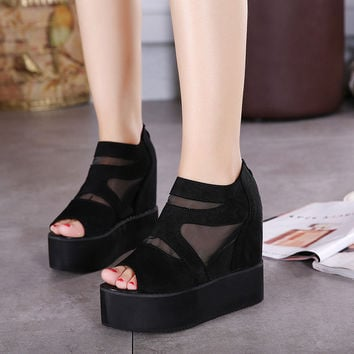 Korean Shoes Sexy Hollow Out High Heel Wedge Peep Toe Thick Crust Boots [6044954113]