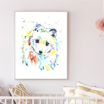 Arctic Fox Watercolour Art Painitng Beautiful Animal Watercolor Fox Canvas Art Print Wall Home Decor Unframed