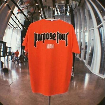 ca qiyif Justin Bieber Fear Of God Purpose Tour T Shirt Men