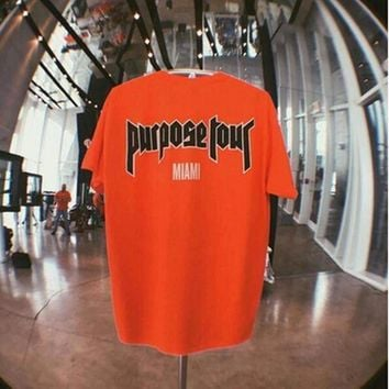 ca kuyou Justin Bieber Fear Of God Purpose Tour T Shirt Men
