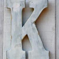 """Rustic Wooden Letters K Distressed Painted White,12"""" Tall Click here for more selections"""