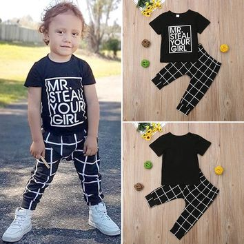 USA Fashion Kids Baby Boys T-Shirt Tops Plaid Pants Trouser 2Pcs Outfits Clothes