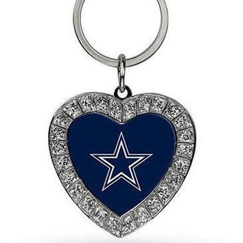NFL Dallas Cowboys Heart Keychain FREE SHIPPING!