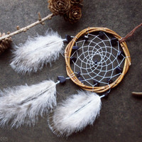 Small willow dreamcatcher with natural stones aventurine with fluffy feathers