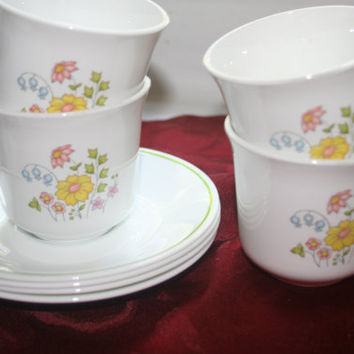 Corelle Teacups and Saucers Wildflowers Design,Vintage Corelle