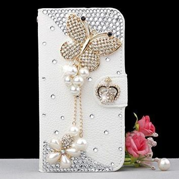 Bling Handmade Glitter Rhinestone Pearl Leather Flip Wallet Protective Case for Iphone & SamsungS3 S4 S5 S6E+ S7 S7E S8PLUS N5