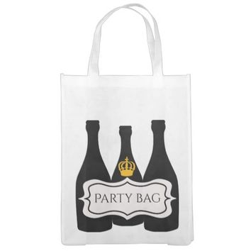 Party bag Bottles of wine with a crown and label Grocery Bags