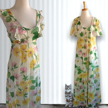 Vintage nightgown and robe, 1960s night set, floral nightgown and slip, size Small