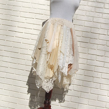 Tattered Lace Fairy Woodland Skirt, White and Cream, Hippie, Boho, Gypsy, Funky, Upcycled Clothing