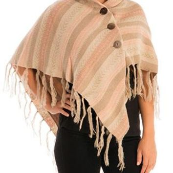 Scarf Layered Fringe Knitted Poncho Stretch Collar Button Closure