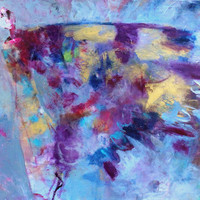 "Abstract Figure Painting, Blue Purple Gold, Butterfly Wings, Contemporary Acrylic Painting ""Embrace Metamorphosis"""