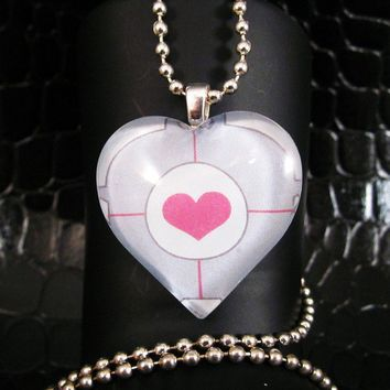 Companion Cube Portal Heart Necklace by AngelElements on Etsy