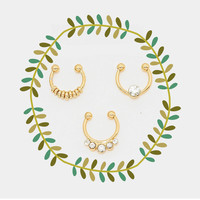 Rhinestone Faux Septum Piercing Set, Clip on Nose ring Set