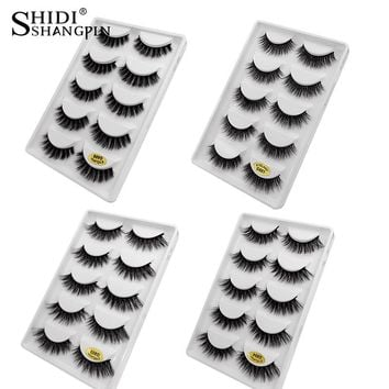 SHIDISHANGPIN 5 pairs mink eyelashes 3d mink lashes natural long 1 box false eyelashes 1cm-1.5cm 3d eyelash extension cilios