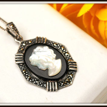 Vintage Sterling Silver Marcasite Mother of Pearl Onyx Cameo necklace