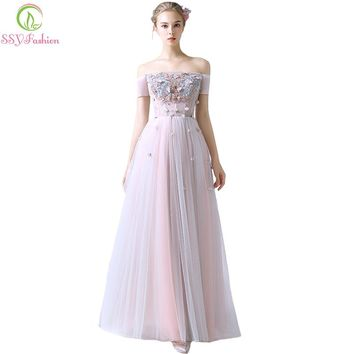 New Elegant Banquet Evening Dress The Bride Lace Flower Floor-length Tulle Formal Party Gown Custom