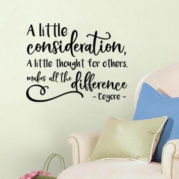 """Lucky Girl Decals Inspired by Eeyore Pooh A Little Consideration A Little Thought For Others Goes A Long Way Vinyl Wall Decal Sticker 26.9"""" w x 21"""" h V2"""