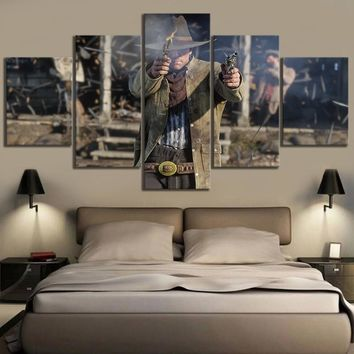 Canvas Poster Video Games Red Dead Redemption 2 Arthur Morgan Gutch's Gang Western Game Fan Art Wall Painting Home Decor