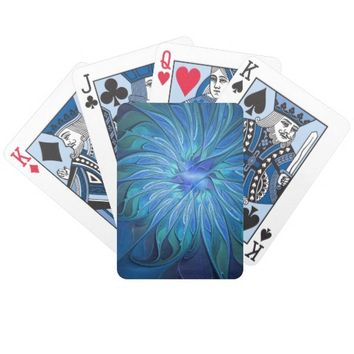 Blue Flower Fantasy Pattern, Abstract Fractal Art Bicycle Playing Cards