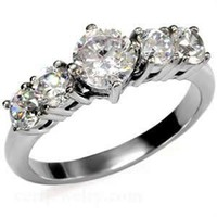 Stainless Steel CZ Round Engagement Ring Size 5/6/7/8/9/10