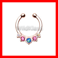 Rose Gold Opal Fake Septum Ring Horseshoe Precia Clip-On Ring Cartilage Earrings Nipple Ring Circular Barbell Tragus Jewelry Helix Conch