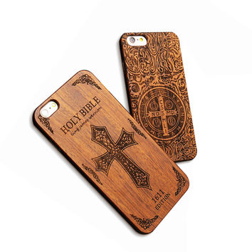 7 Plus Retro Real Wood Phone Cases For Iphone 7 7 Plus Case High Quality Durable Carving Skull Embossed Wooden + PC Cover Shell