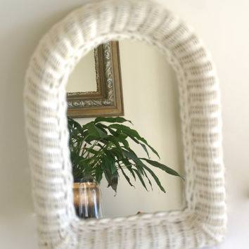 Wicker Mirror Off White Rounded Top Wall Mirror