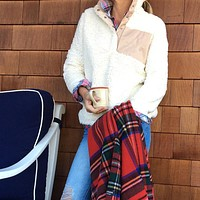 Snap Collar Sherpa Pullover in Ivory by Everest Clothing - FINAL SALE