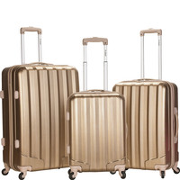 Rockland Luggage Metallic 3 Piece Hardside Spinner Set - eBags.com