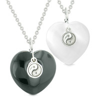 Yin Yang Powers Hearts Love Couples or Best Friends Set Black Agate White Simulated Cats Eye Necklaces