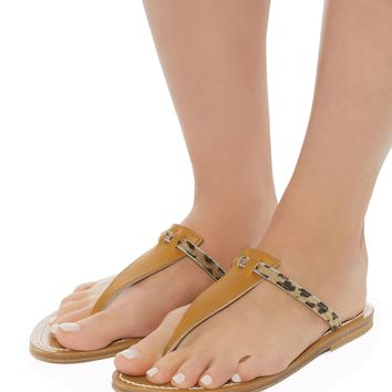 Leopard Haircalf Leather Sandals