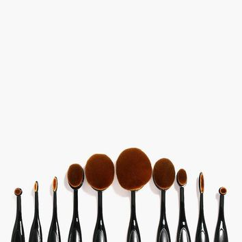 10 Piece Oval Make Up Brush Set | Boohoo
