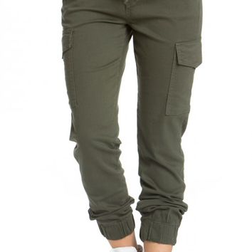 Drawstring Cargo Jogger Pants in Olive