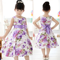 New Fashion Pretty Girl Kids Print Bow Gown Sleeveless O-Neck Princess Wedding Party Dress