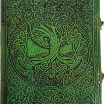 Tree of Life Green Leather Covered Journal with Latch